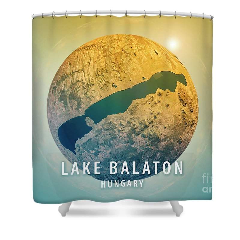 Lake Balaton Shower Curtain featuring the digital art Lake Balaton 3d Little Planet 360-degree Sphere Panorama by Frank Ramspott