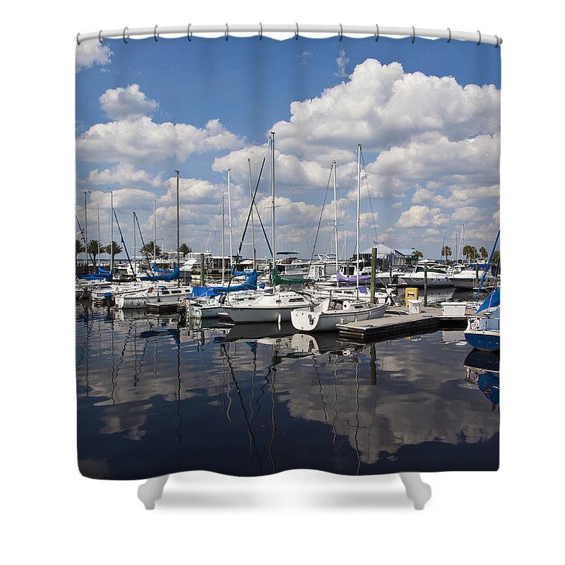 Lake Shower Curtain featuring the photograph Lake Monroe At The Port Of Sanford Florida by Allan Hughes