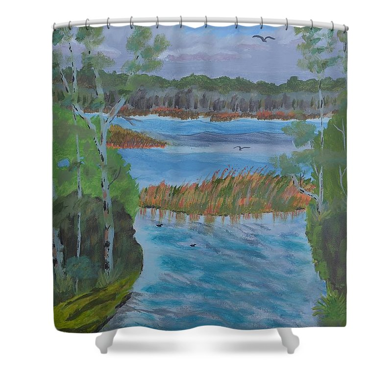 Lake Okahumpka Park Shower Curtain featuring the painting Lake Okahumpka Park by Warren Thompson