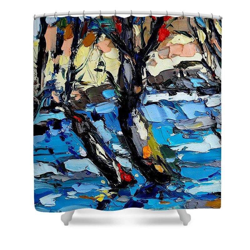 Landscape Shower Curtain featuring the painting Landscape by Mentor Berisha