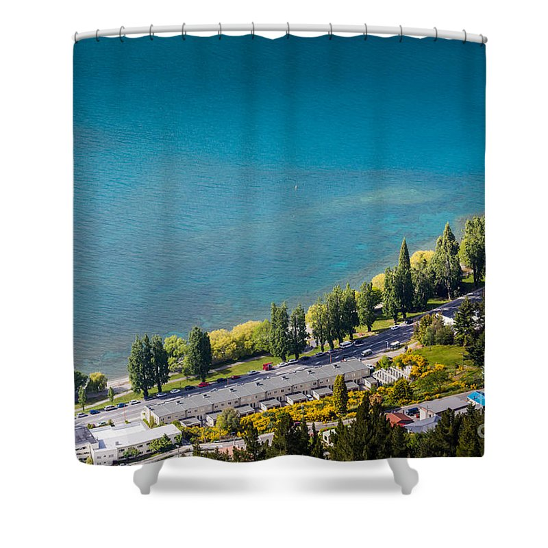 Aerial Shower Curtain featuring the photograph Landscape Of Lake In The South Island, Queenstown New Zealand by Mariusz Prusaczyk