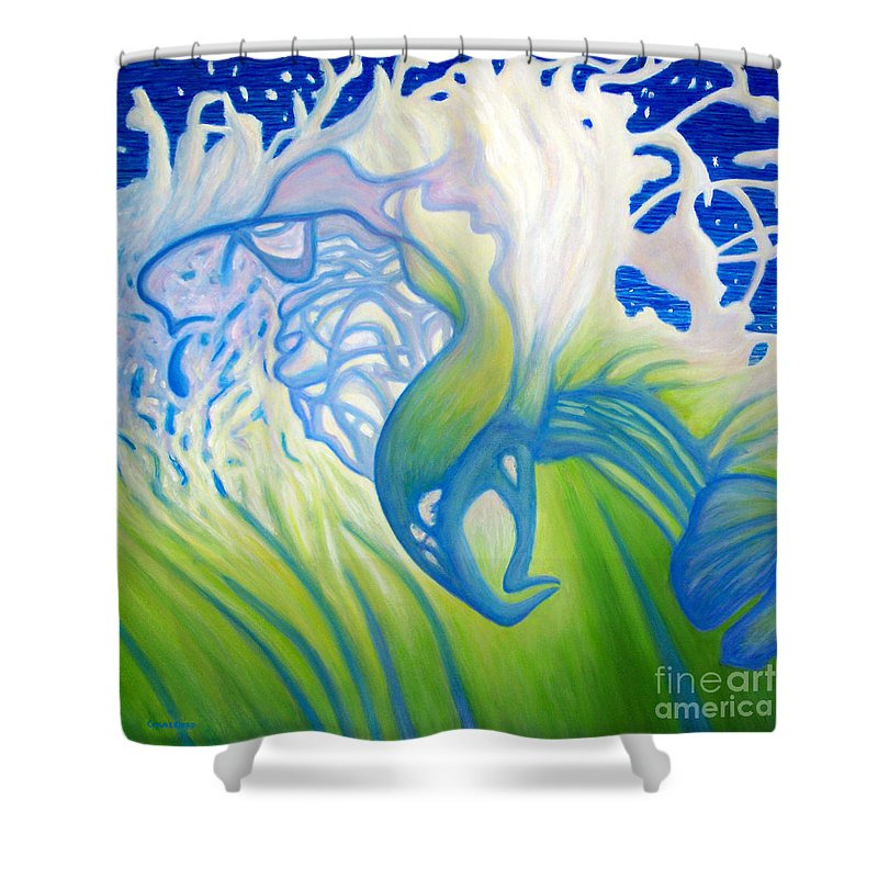 Ocean Shower Curtain featuring the painting Launch With Abandon by Brian Commerford