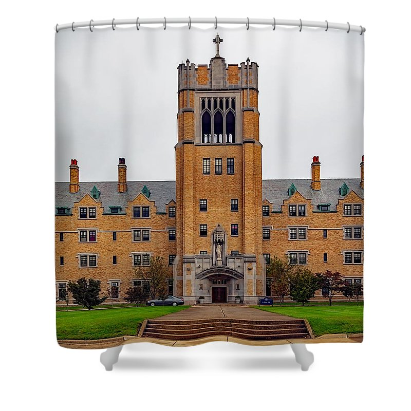 Saint Marys College Shower Curtain Featuring The Photograph Le Mans Hall