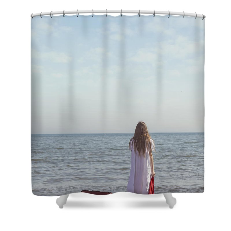 Girl Shower Curtain featuring the photograph Leaving by Joana Kruse