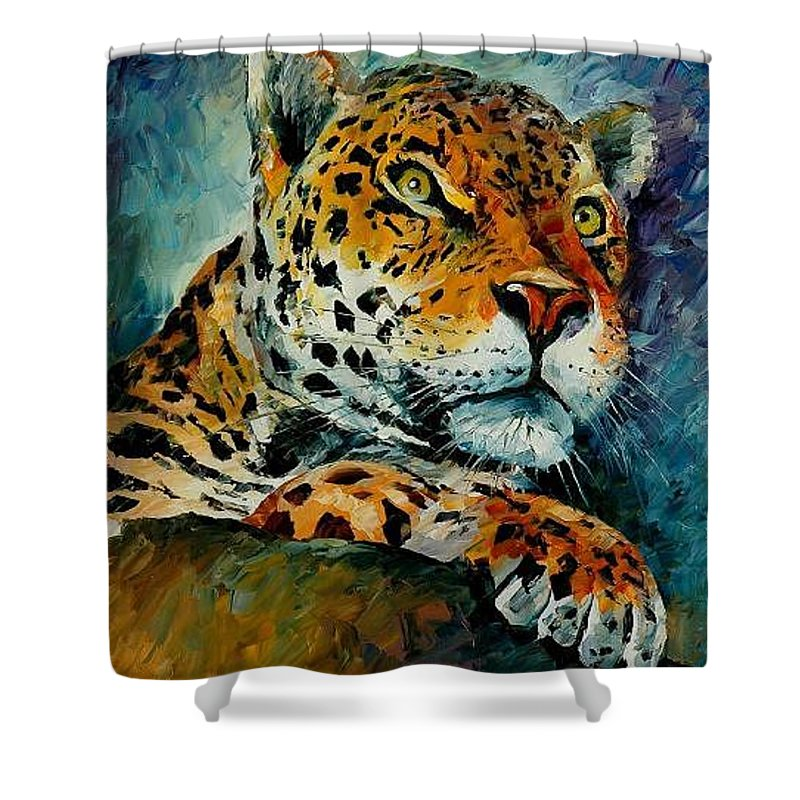 Animal Shower Curtain featuring the painting Leopard by Leonid Afremov