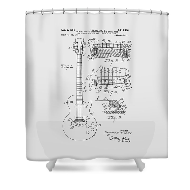 Les Paul Shower Curtain featuring the photograph Les Paul Guitar Patent From 1955 by Chris Smith