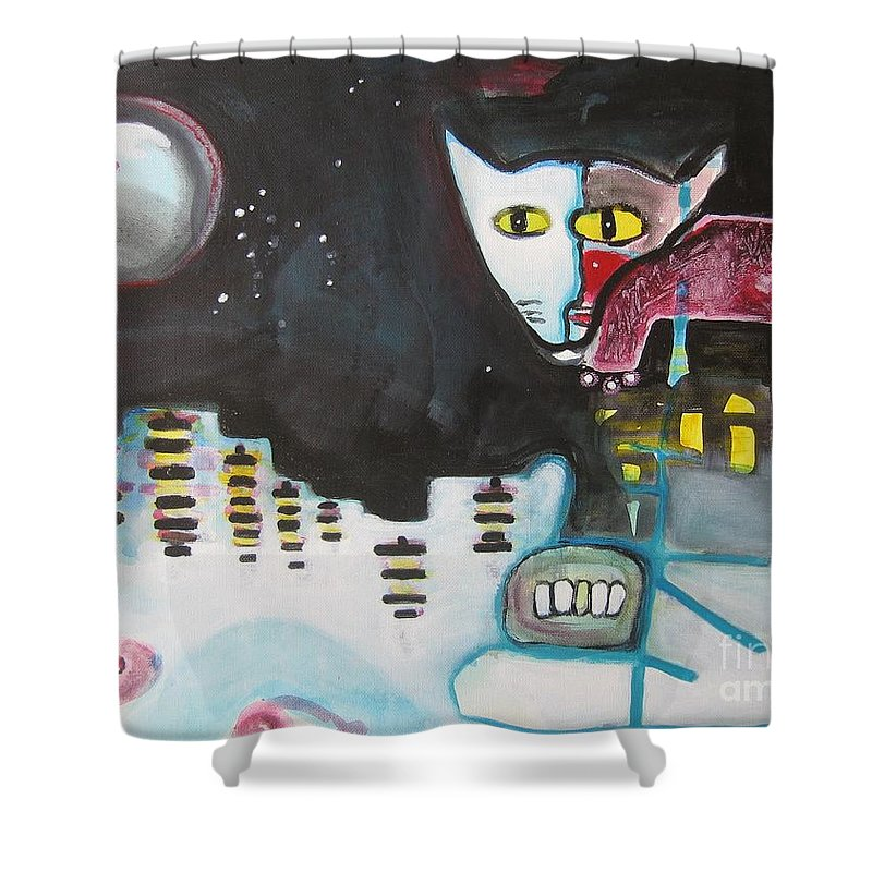 Cat Paintings Shower Curtain featuring the painting Let Me Out3 by Seon-Jeong Kim