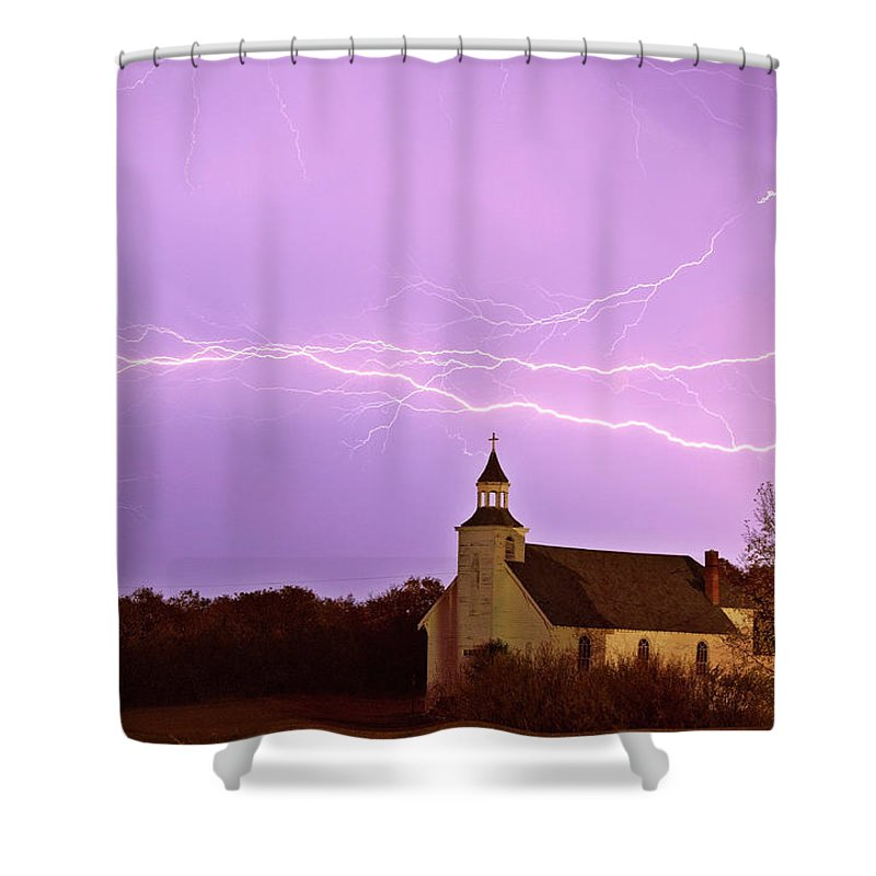 Old Shower Curtain featuring the digital art Lightning Bolts Over Spring Valley Country Church by Mark Duffy