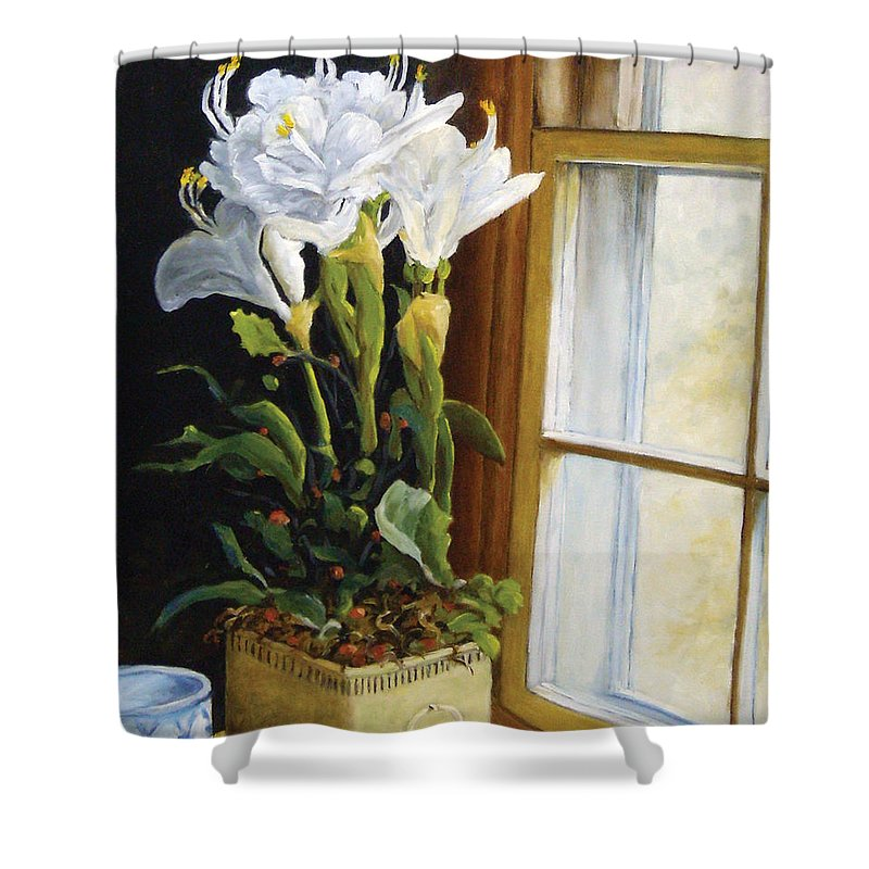 Art Shower Curtain featuring the painting Lillies by Richard T Pranke