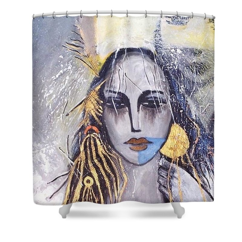 Shower Curtain featuring the drawing Lina by Issam Youssef