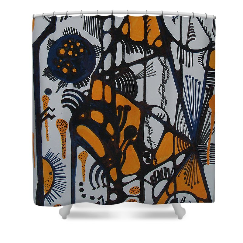 Shower Curtain featuring the painting Lines by Carol P Kingsley