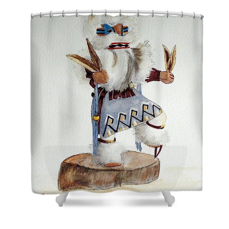 Lizard Shower Curtain featuring the mixed media Lizard by Mary Rogers