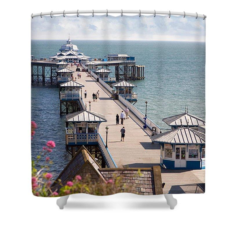 Llandudno Shower Curtain featuring the photograph Llandudno Pier North Wales Uk by Mal Bray