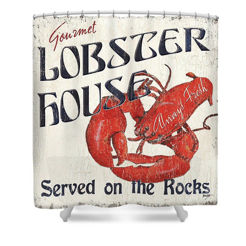 Lobster Shower Curtain Featuring The Painting House By Debbie DeWitt