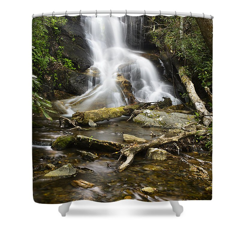 Log Hollow Shower Curtain featuring the photograph Log Hollow Falls North Carolina by Chip Laughton