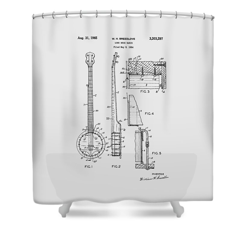 Long Neck Banjo Shower Curtain featuring the photograph Long Neck Banjo Patent From 1964 by Chris Smith