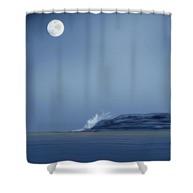 Seascape Shower Curtain featuring the painting Looking At The Moon by Anne Norskog