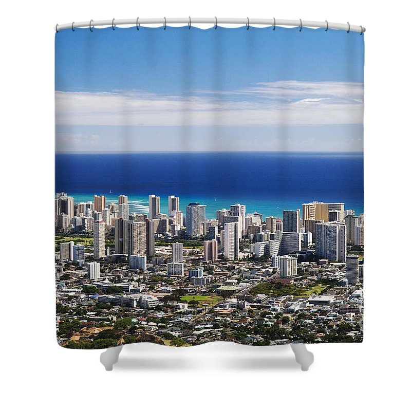 Above Shower Curtain featuring the photograph Lookout View Of Honolulu by Greg Vaughn - Printscapes
