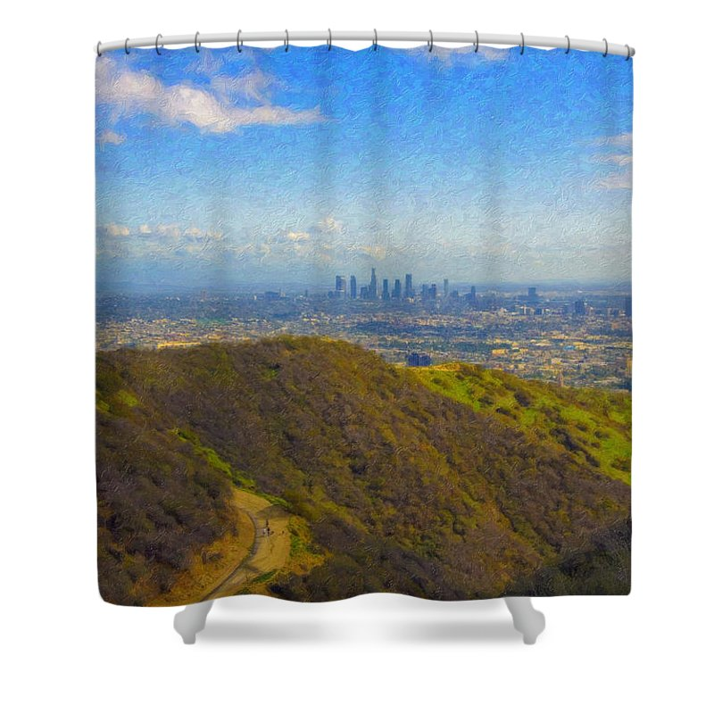 Los Angeles Ca Skyline Hollywood Runyon Canyon Hiking Trail Shower Curtain featuring the photograph Los Angeles Ca Skyline Runyon Canyon Hiking Trail by David Zanzinger