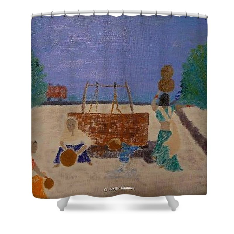 Abstract Shower Curtain featuring the painting Lost Memories - Sold by R B