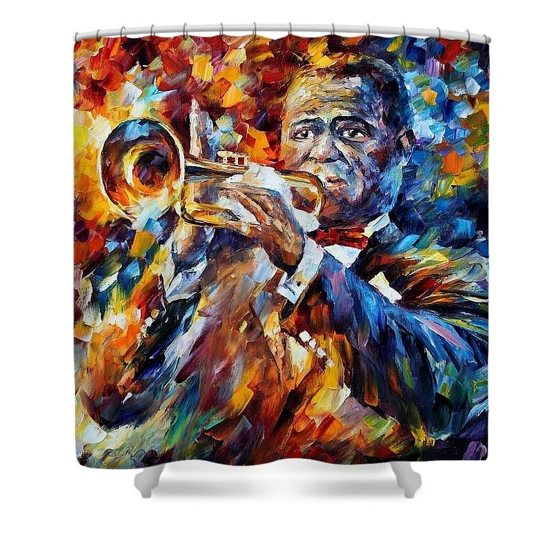 Afremov Shower Curtain featuring the painting Louis Armstrong by Leonid Afremov