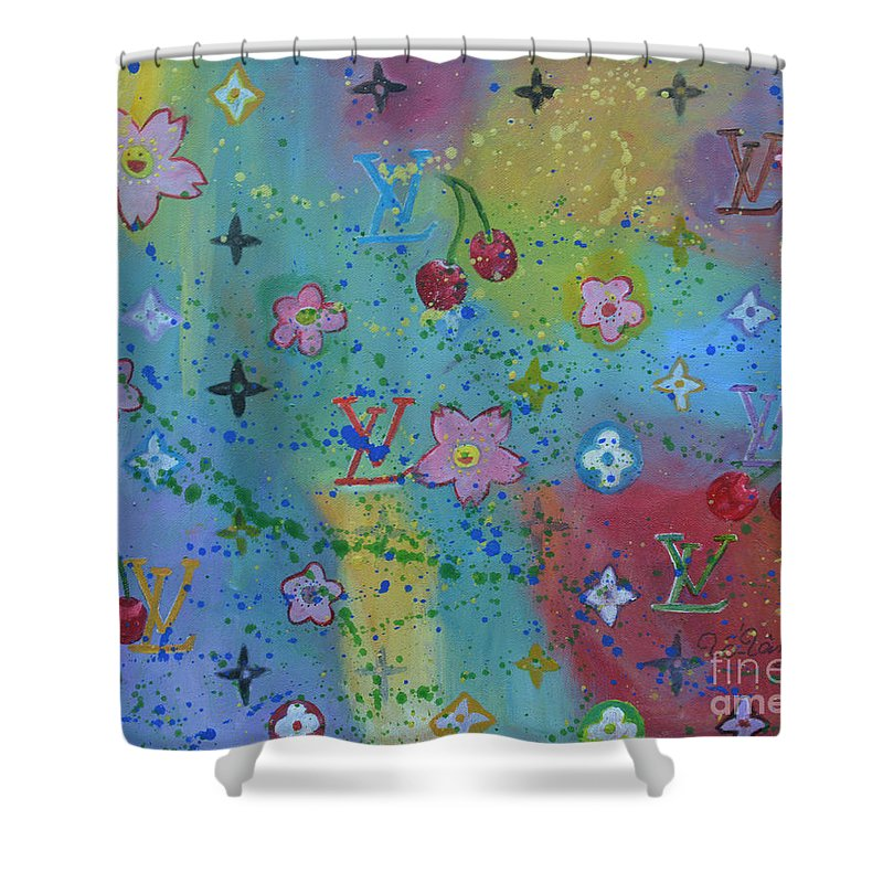 70edae057260 Louis Vuitton Shower Curtain featuring the painting Louis Vuitton Monograms  by To-Tam Gerwe