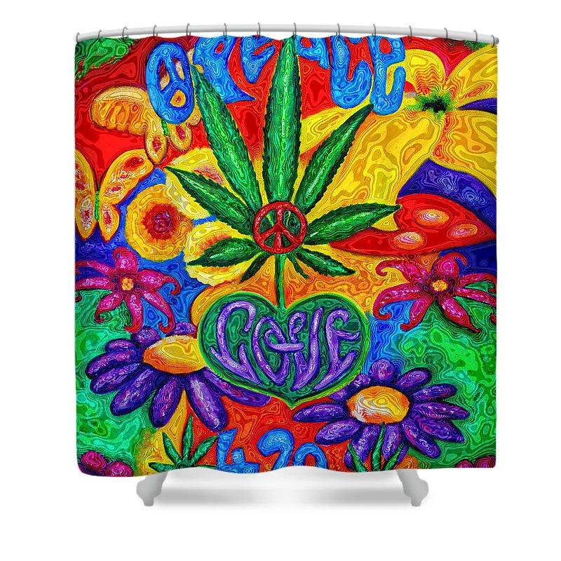 420 Shower Curtain featuring the painting Love And Peace by Diana Haronis