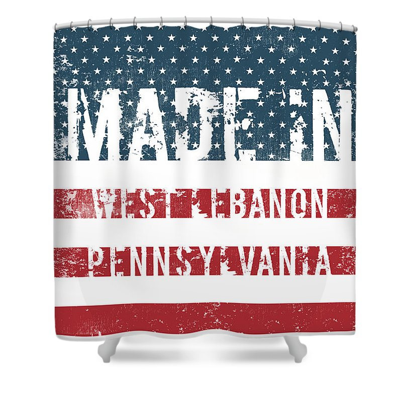 West Lebanon Shower Curtain featuring the digital art Made In West Lebanon, Pennsylvania by Tinto Designs