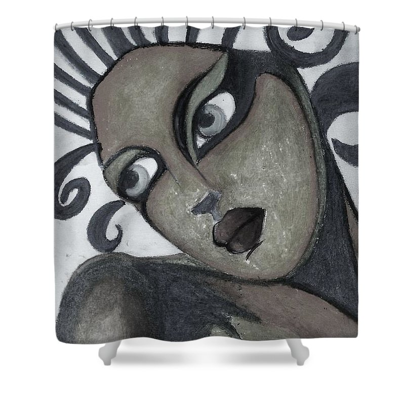 Portrait Shower Curtain featuring the painting The Look Of Love by Vesna Antic