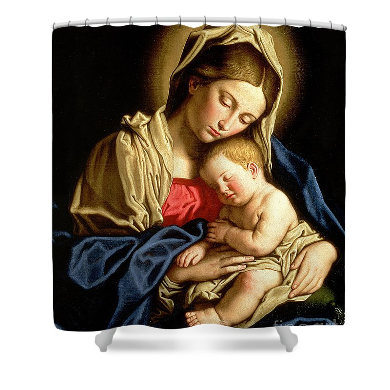 Mary Shower Curtain featuring the painting Madonna And Child by Il Sassoferrato