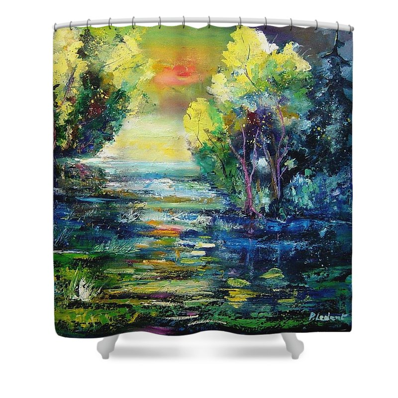Pond Shower Curtain featuring the painting Magic Pond by Pol Ledent