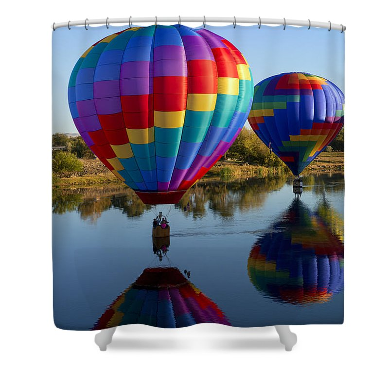 Balloons Shower Curtain featuring the photograph Making Waves by Mike Dawson
