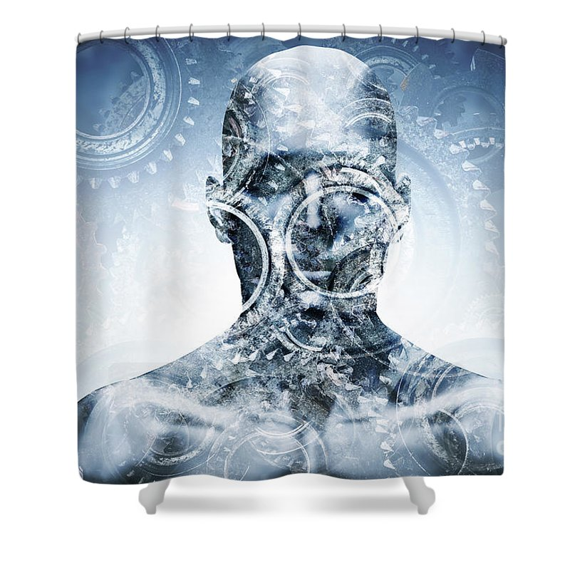 Face Shower Curtain featuring the photograph Man Face With Mechanical Cogwheel Overlay. by Michal Bednarek