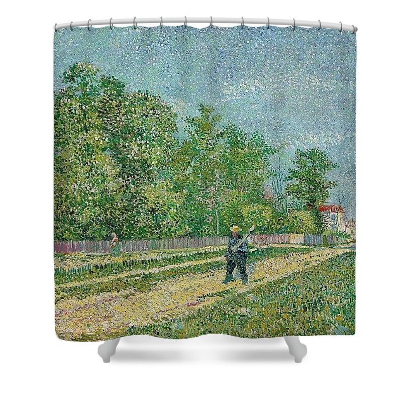 Man With Spade In A Suburb O Shower Curtain featuring the digital art Man With Spade In A Suburb O by Rose Lynn