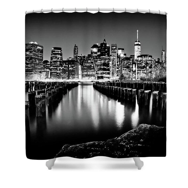 One World Trade Center Shower Curtain featuring the photograph Manhattan Skyline At Night by Az Jackson
