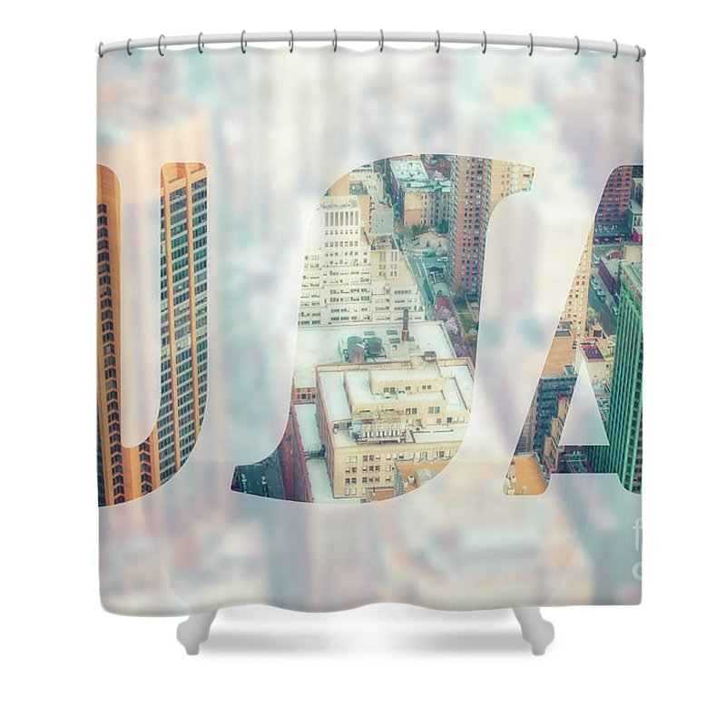 Aerial Shower Curtain featuring the photograph Manhattan Skyline At Sunset, New York City by Mariusz Prusaczyk