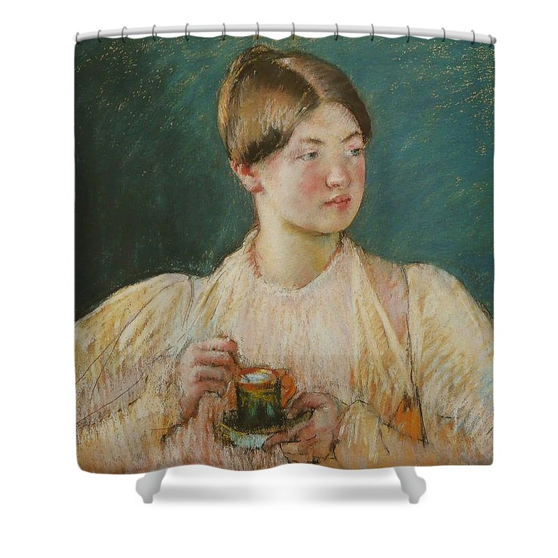 La Tasse De The Shower Curtain featuring the painting Mary Cassatt by MotionAge Designs