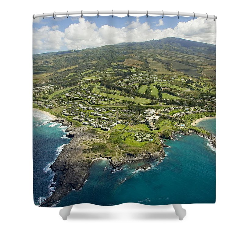 Above Shower Curtain featuring the photograph Maui Aerial Of Kapalua by Ron Dahlquist - Printscapes