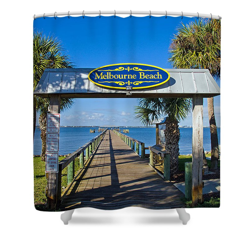 Florida; Melbourne; Beach; Atlantic; Coast; East; Space; Pier; Pineapples; Steamboat; Load; Cargo; I Shower Curtain featuring the photograph Melbourne Beach Florida by Allan Hughes