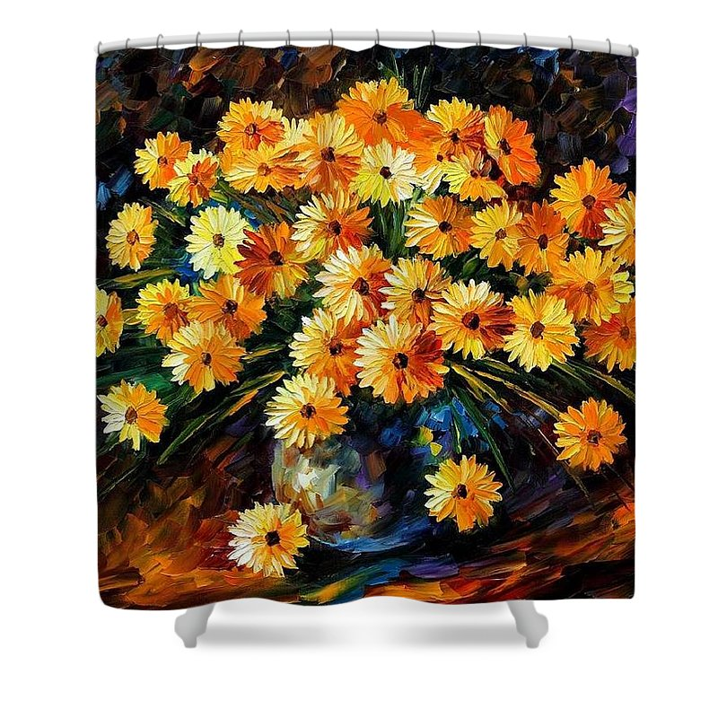 Afremov Shower Curtain featuring the painting Melody Of Beauty by Leonid Afremov