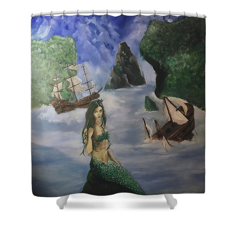 Portrait Shower Curtain featuring the painting Mermaid by James Henderson
