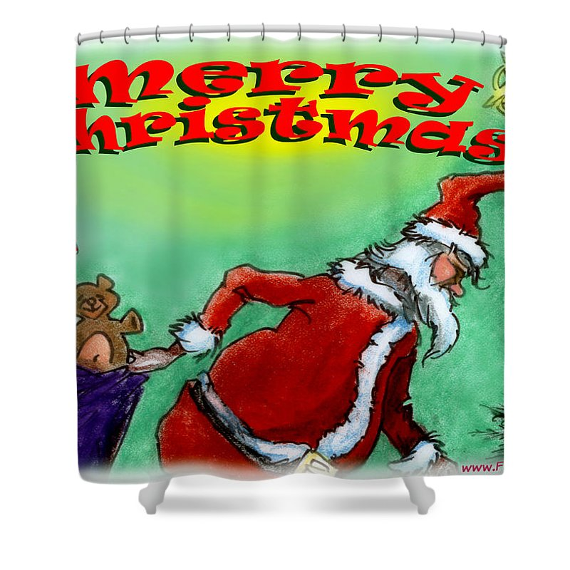 Christmas Shower Curtain featuring the digital art Merry Christmas by Kevin Middleton