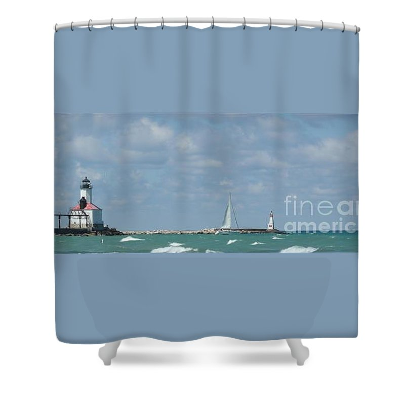 Scenery Shower Curtain featuring the photograph Michigan City Beach Lighthouse by Barb Montanye Meseroll
