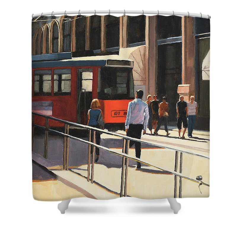 Milan Shower Curtain featuring the painting Milan trolley by Tate Hamilton