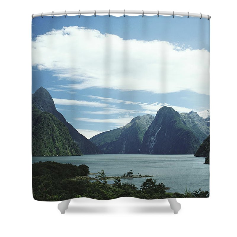 Bay Shower Curtain featuring the photograph Milford Sound by Mary Van de Ven - Printscapes
