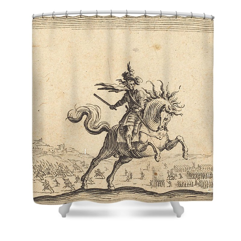 Shower Curtain featuring the drawing Military Commander On Horseback by Jacques Callot