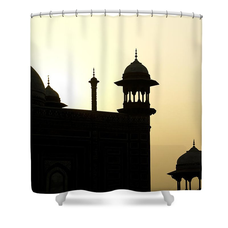 Mosque Shower Curtain featuring the photograph Minarets At Sunrise by Michele Burgess
