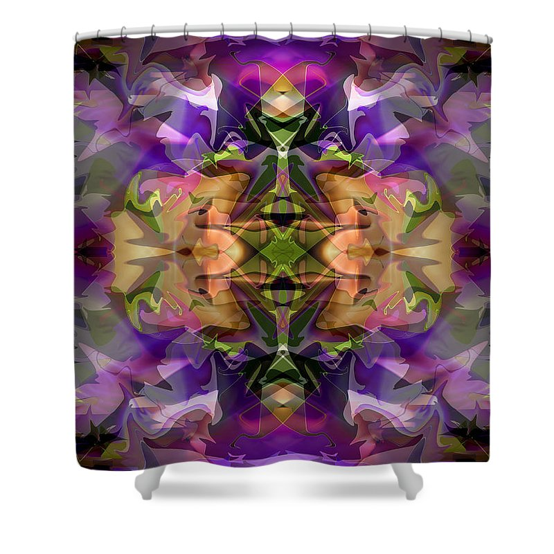 Abstract Shower Curtain featuring the digital art Mind Portal by Lynda Lehmann