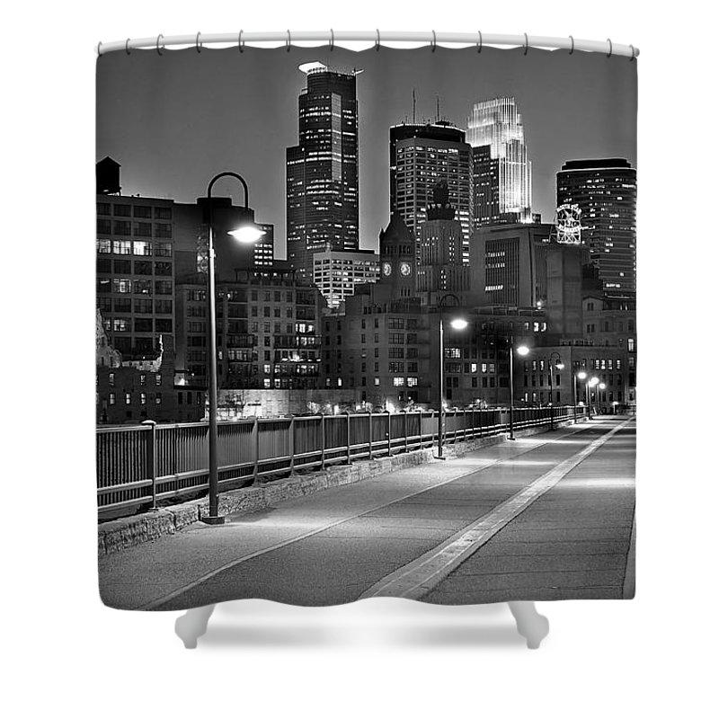 Minneapolis Skyline Shower Curtain featuring the photograph Minneapolis Skyline From Stone Arch Bridge by Jon Holiday