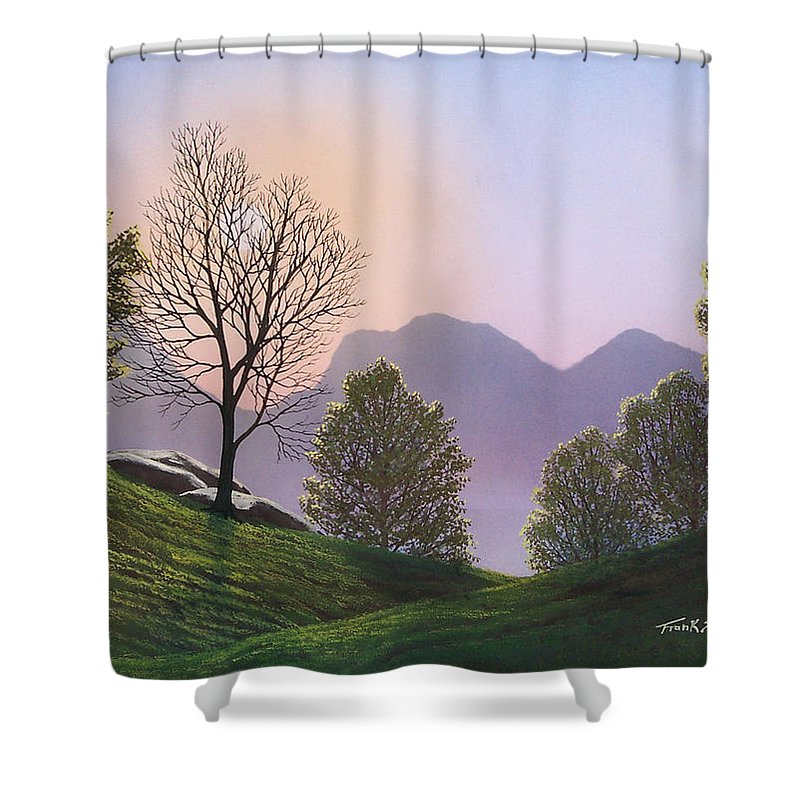 Landscape Shower Curtain featuring the painting Misty Spring Meadow by Frank Wilson